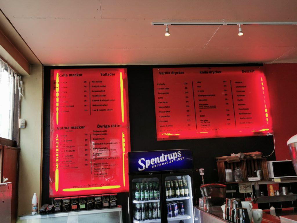 Speisekarte und Getränkekarte im Café String Stockholm