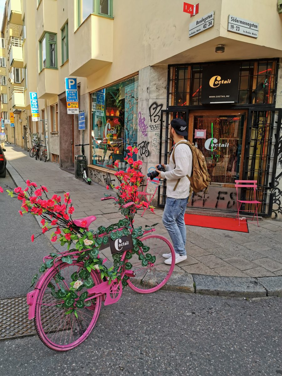 Rosa Cocktail-Fahrrad in Södermalm