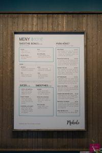 Speise- und Getränkekarte des Café Mahalo in Stockholm
